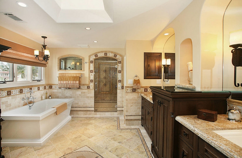 Master bathroom with golden yellow accents and a spanish revival style