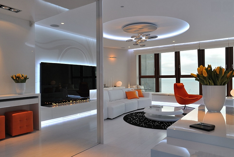 Mesmerizing contemporary living room with the Mercury Ceiling Lamp at its heart