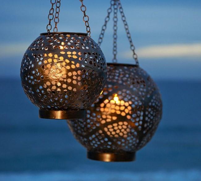 Metal globe lanterns