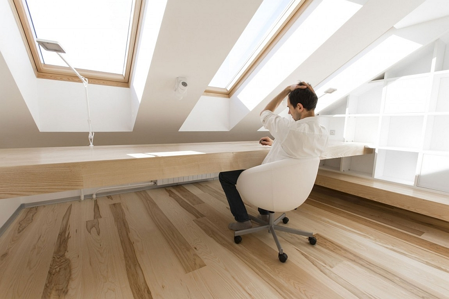 Minimal and efficient design of the cool home office in the attic apartment