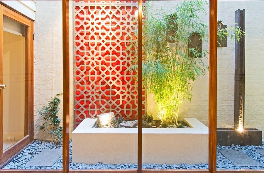 Minimal indoor courtyard combines Japanese and Moroccan influences