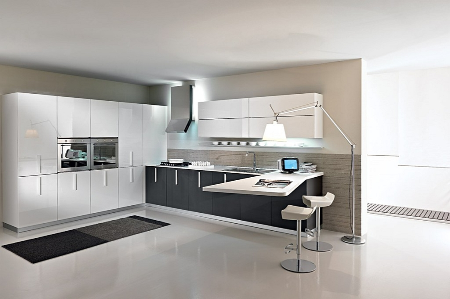 Minimalist contemporary kitchen in white with a cool serving area