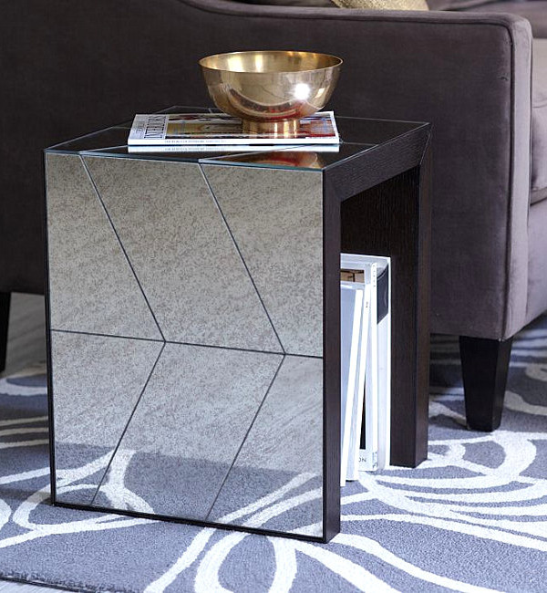 Mirrored chevron side table