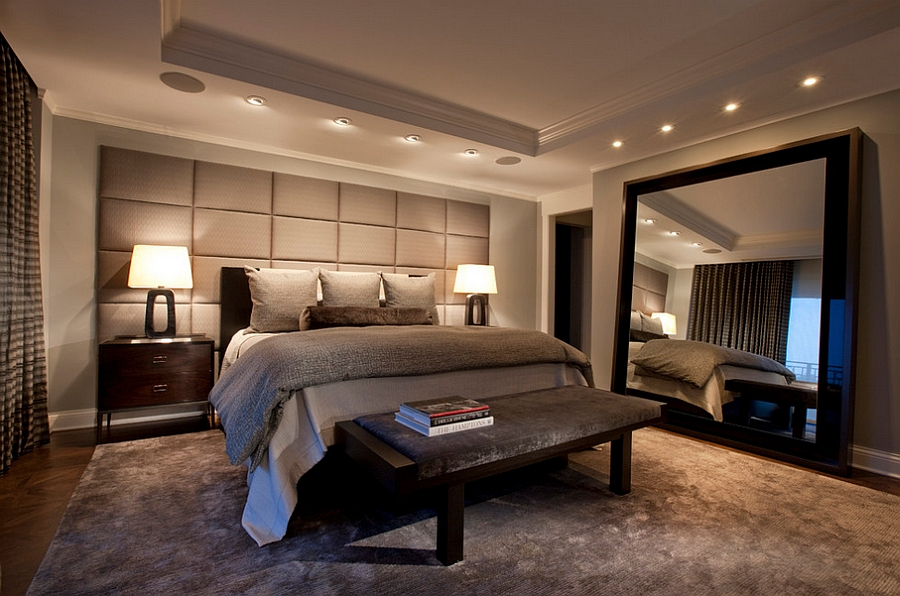 view in gallery mirrors add glamour to the masculine bedroom without giving it an overtly feminine touch 50 stunningly - Stylish Bedroom Design
