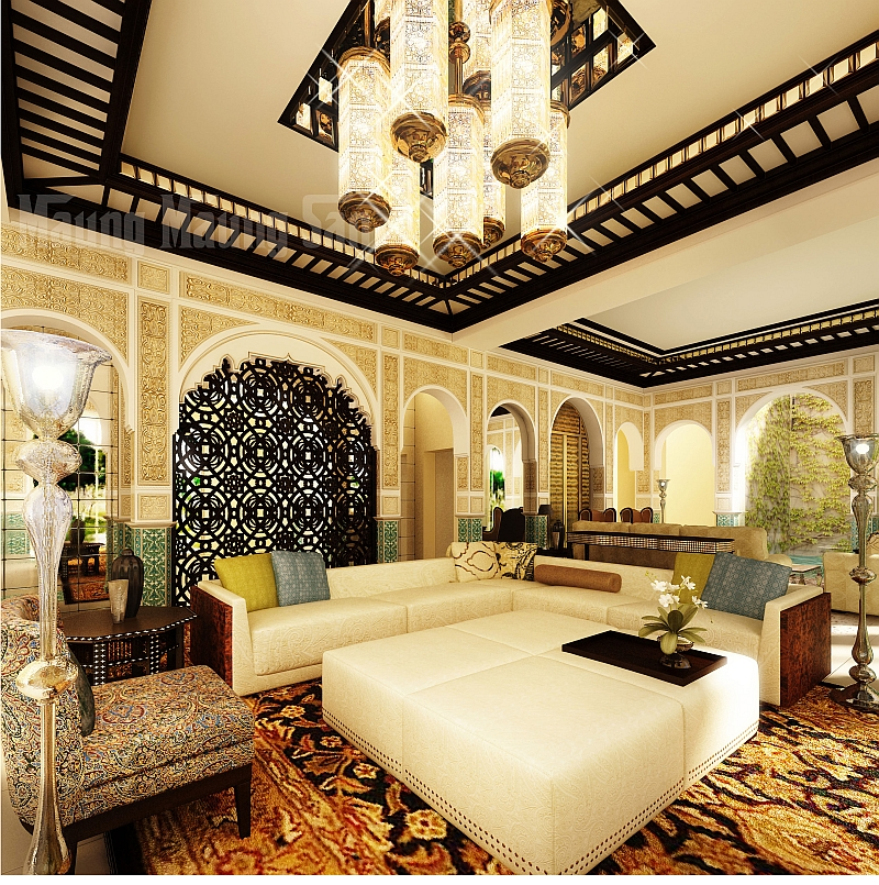 View In Gallery Modern Moroccan Living Room That Exudes Luxury And Majesty