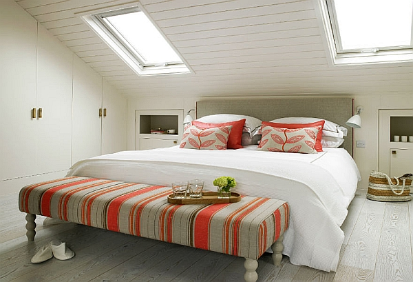 Modern bedroom with sloped ceiling