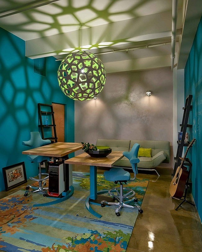Modern home office showcases the mesmerizing honeycomb patterns that the Coral Pendant can cast