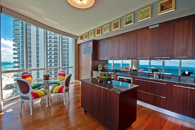 Modern kitchen in Miami with a view to savor