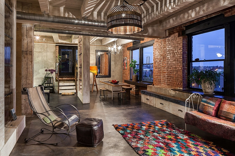 Moroccan lights steal the show in this industrial living room