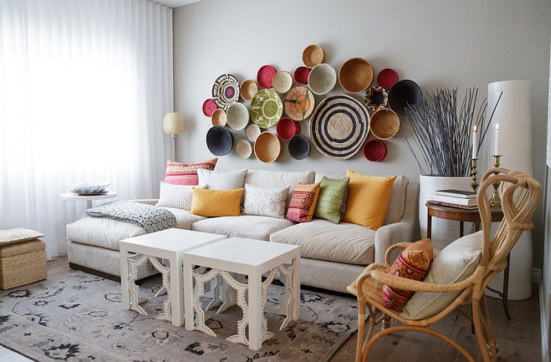 room with a wall arrangement crafted from baskets 33 moroccan living