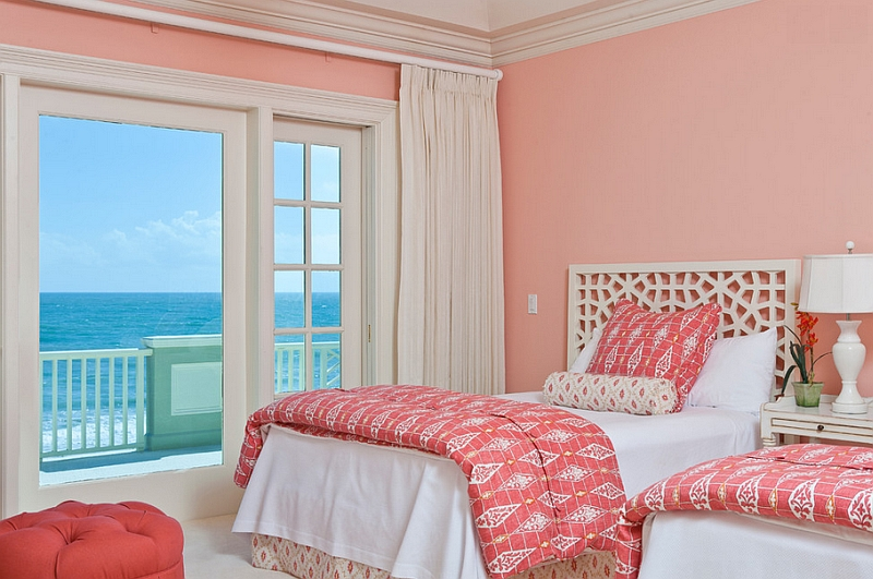 Move away from bright pinks and give coral walls a shot this summer