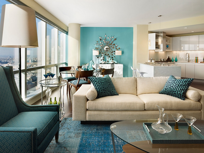 Multiple shades of teal and an accent wall that borders on auqa!