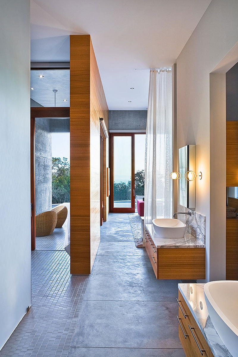 Natural mahogany and eucalyptus add inviting warmth to the master suite