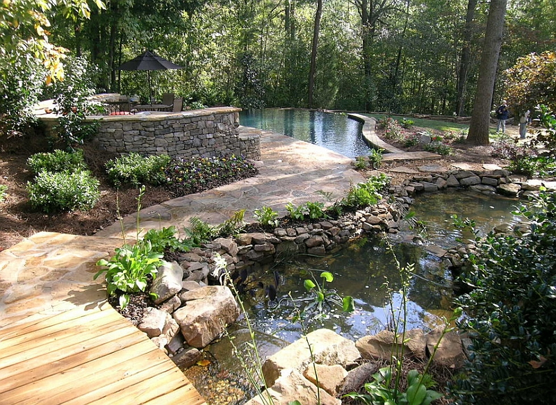 Natural pool coupled with multiple ponds and intricate pathways for an extensive, natural landscape