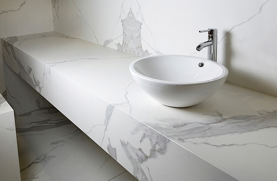 Neolith estatuario finish in the spa like contemporary for Porcelain countertops cost