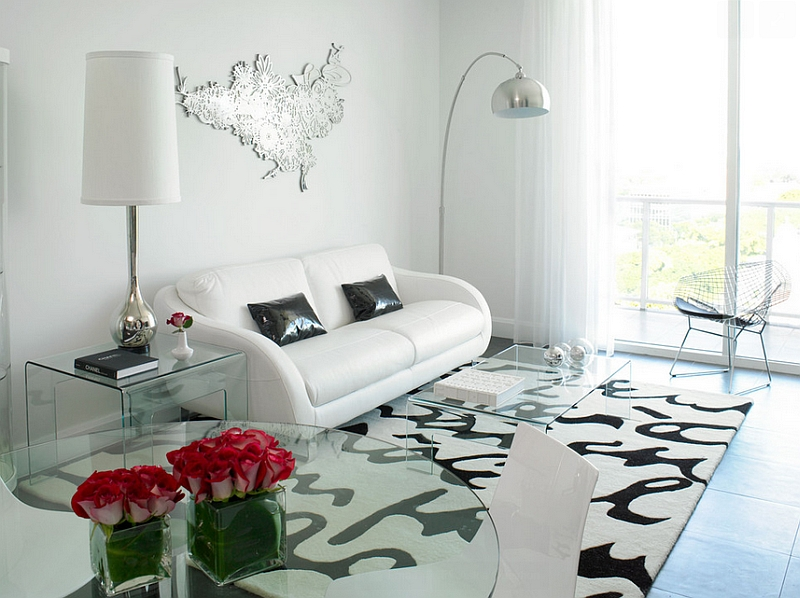 Nordic style living room in trendy black and white