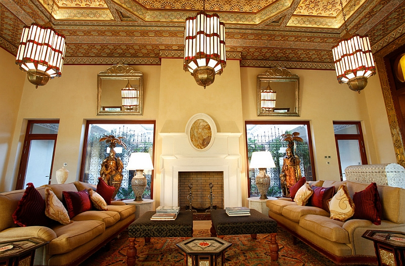 View In Gallery Ornate Ceiling Adds To The Charm Of This Beautiful Living  Room. By Moroccan Bazaar Interior Designers