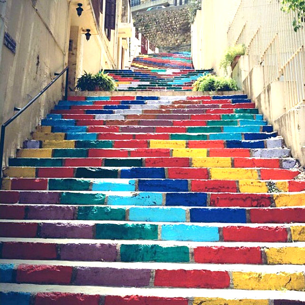Painted brick stairs in Beirut
