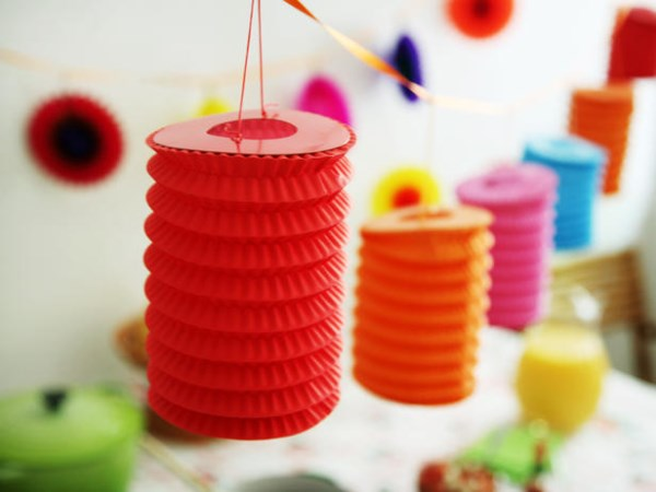 Paper lanterns add a festive touch