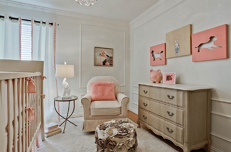 Pastel version of coral for the trendy modern nursery