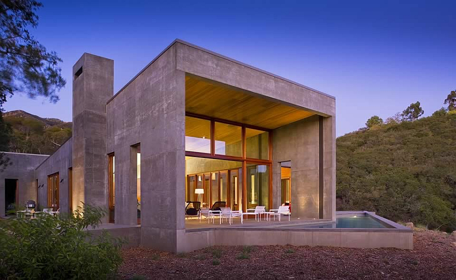 Stylish Californian Home In Concrete Wood And Glass With