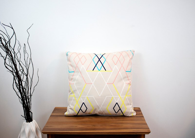 Pink geo throw pillow from Modern cre8ve