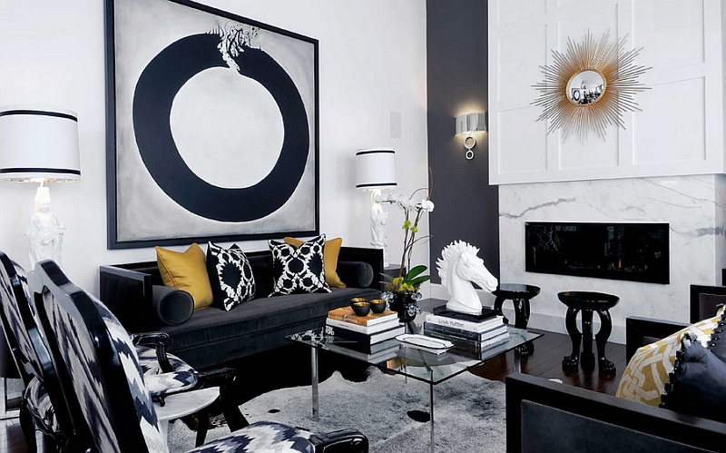Black and white living rooms design ideas - Black and white and grey living room ...