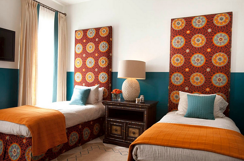 Plush headboards in the bedroom add chic Moroccan patterns
