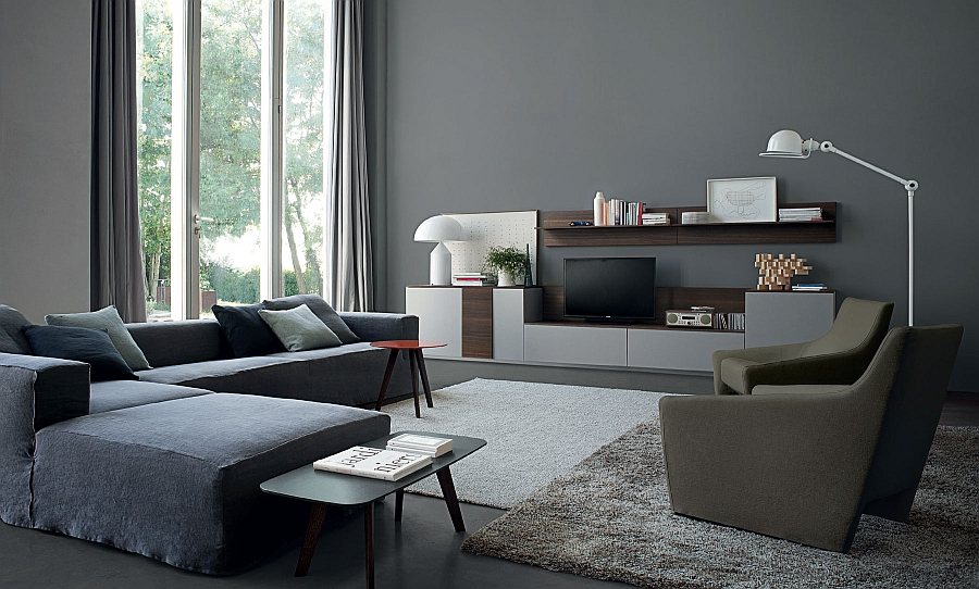 Plush sectional sofa and ergonomic wall unit shape this elegant living room