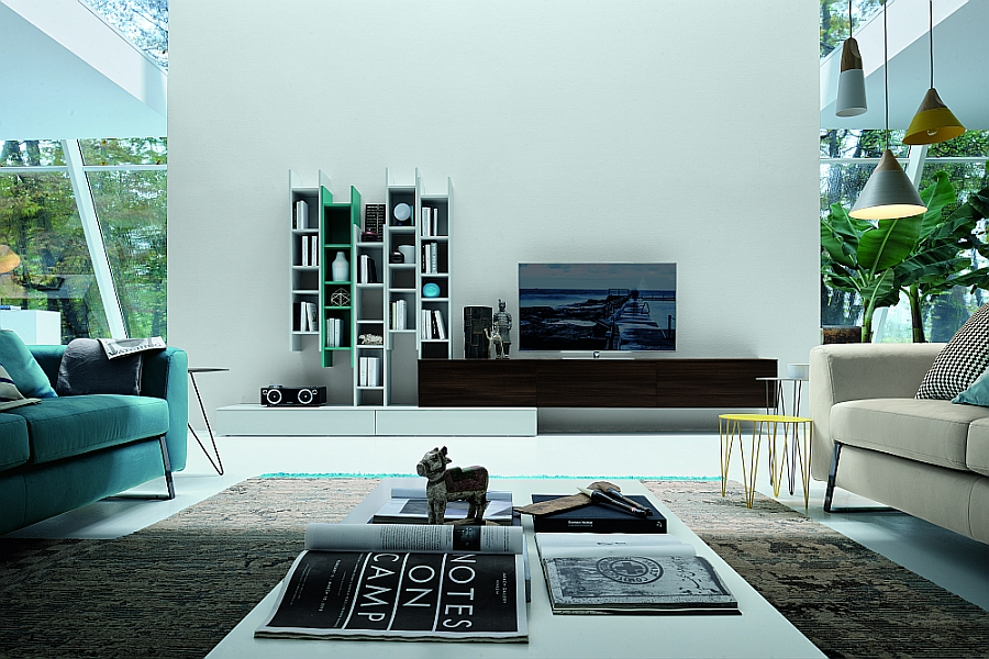 Pops of varying blue and sleek, floating units define the stunning wall unit system