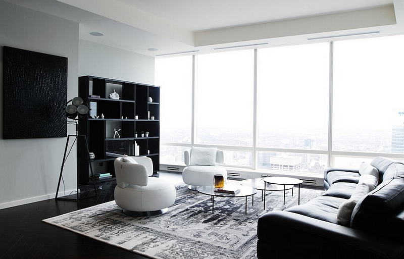 Posh black and white living room with plenty of natural ventilation