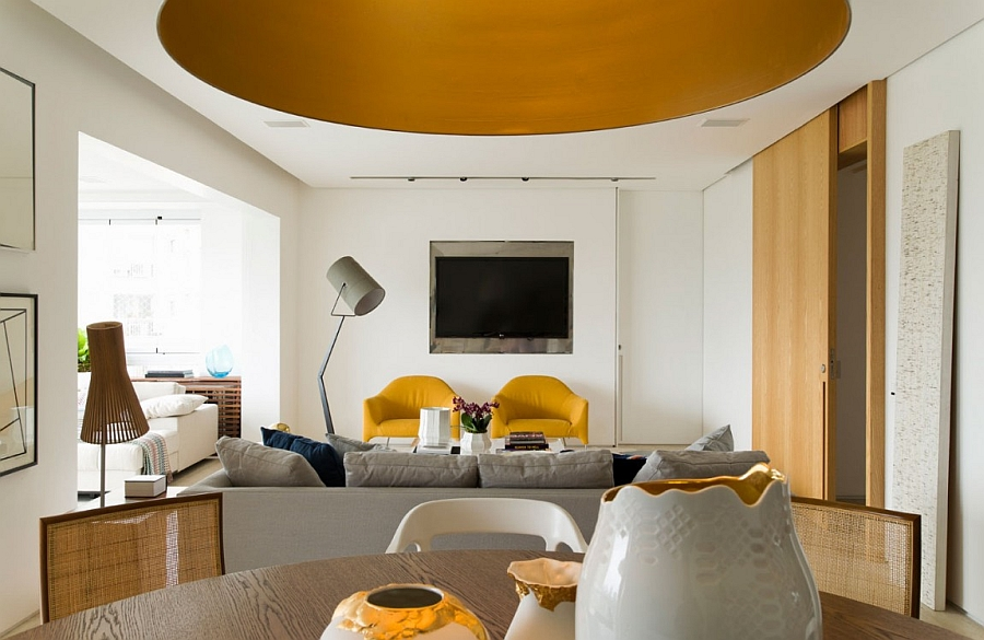 Posh living room with trendy yellow accents