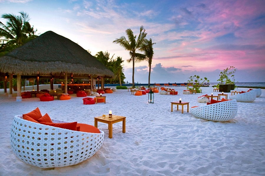 Pristine white beach plays the perfect host to a relaxing evening at the Island Resort