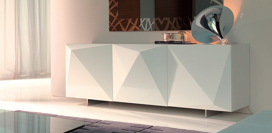 Pristine white sideboard adds geometric contrast to the room