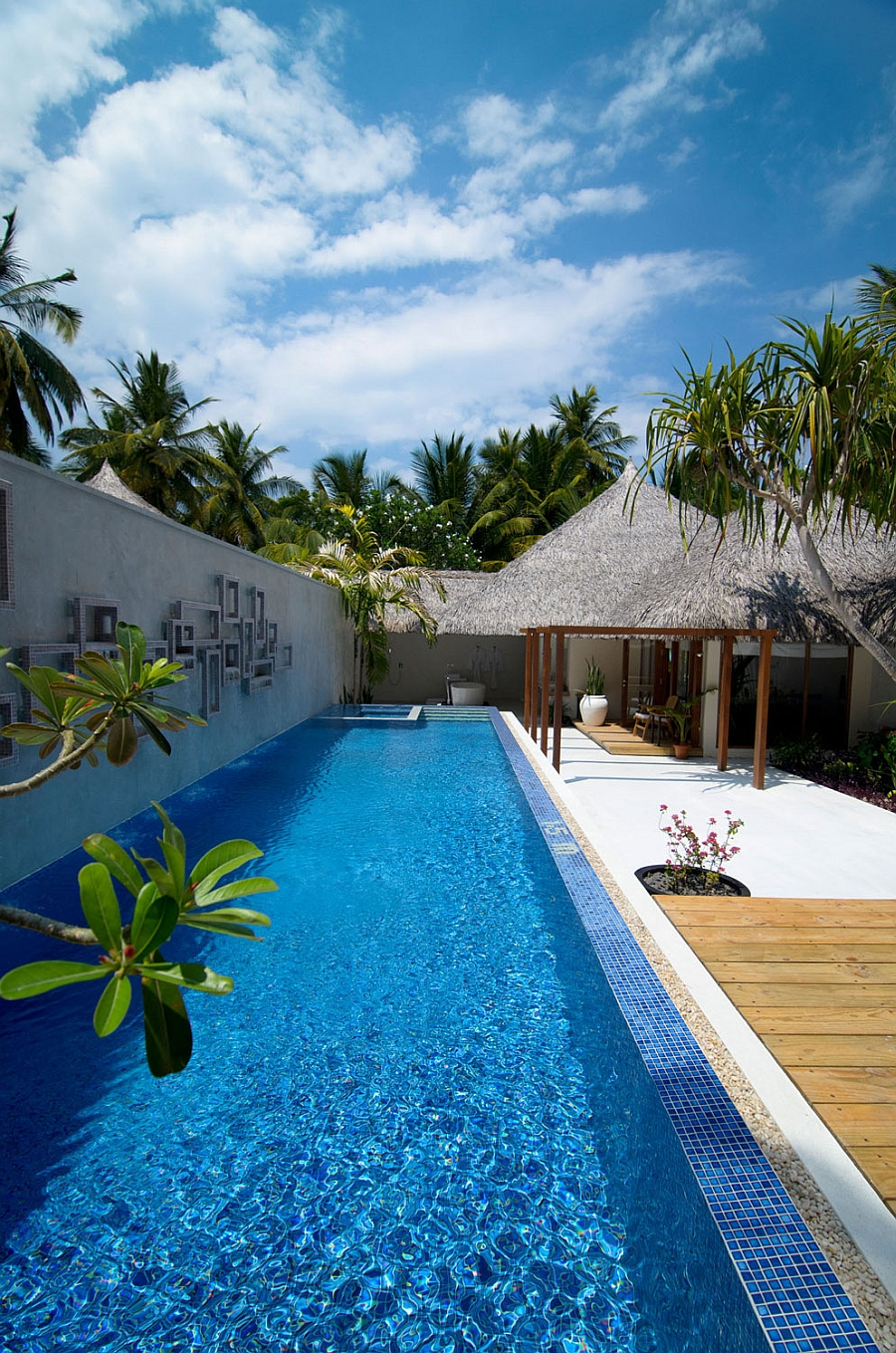 Private villas with lovely pool area at the Kuramathi