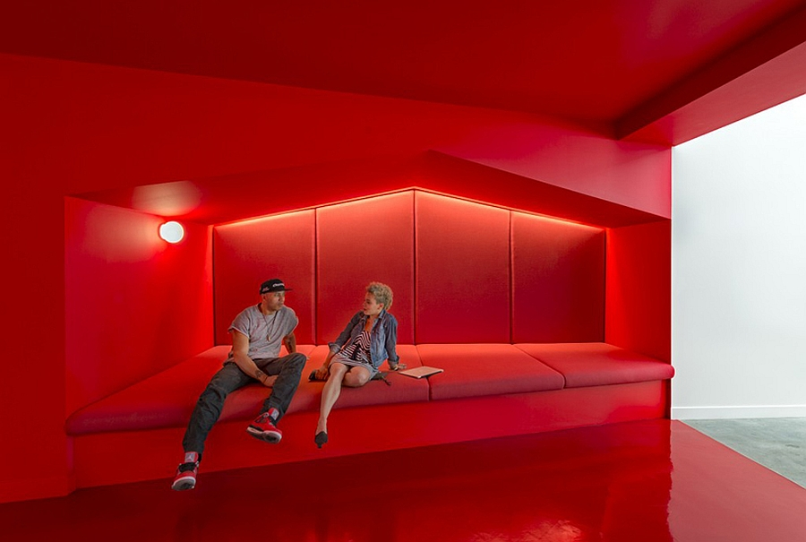 Reception areas and cool relaxing lounges inside the Beats headquarters