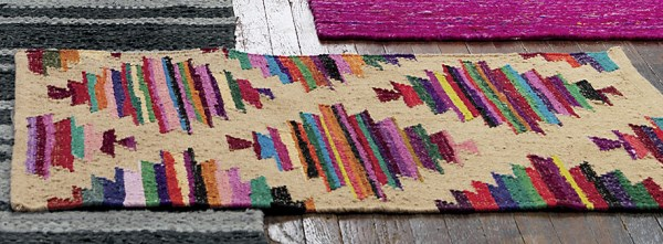 Recycled cotton woven rug
