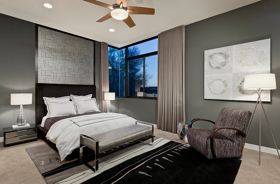 View in gallery Refined use of gray and lighting in the bedroom
