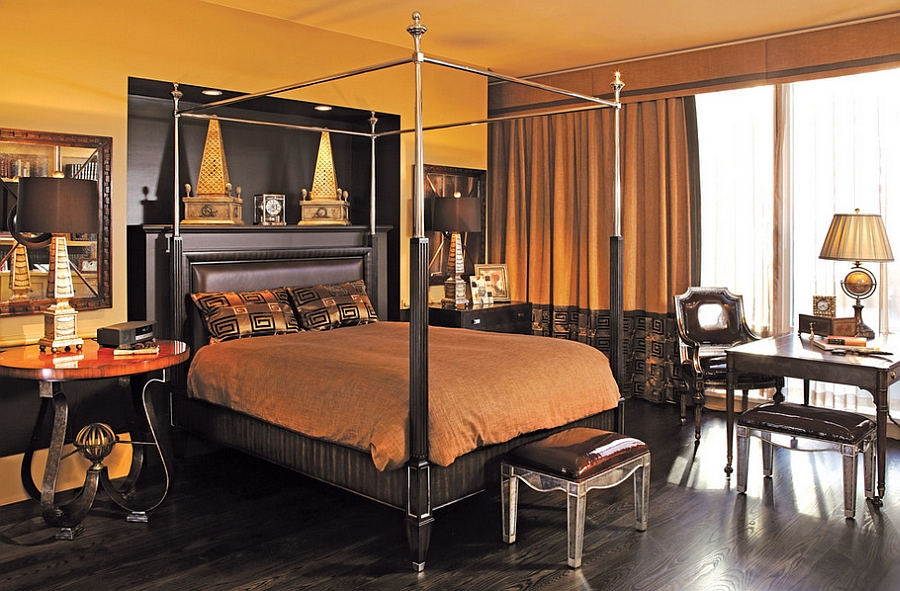 Rich textures, color and lighting paint a picture of opulence in this masculine bedroom