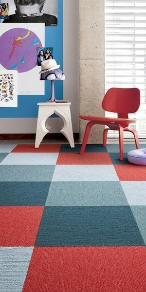Room filled with carpet tile