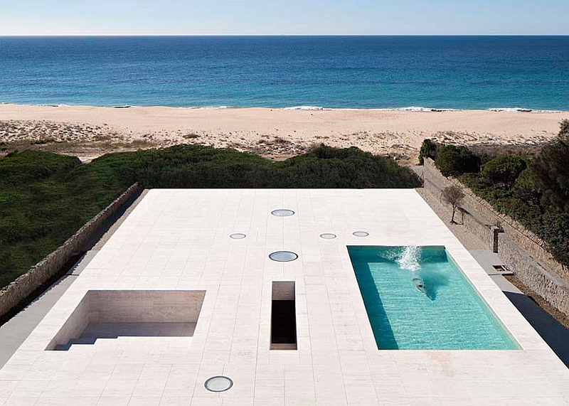 Rootop pool with an ocean view at the spectacular Spanish home