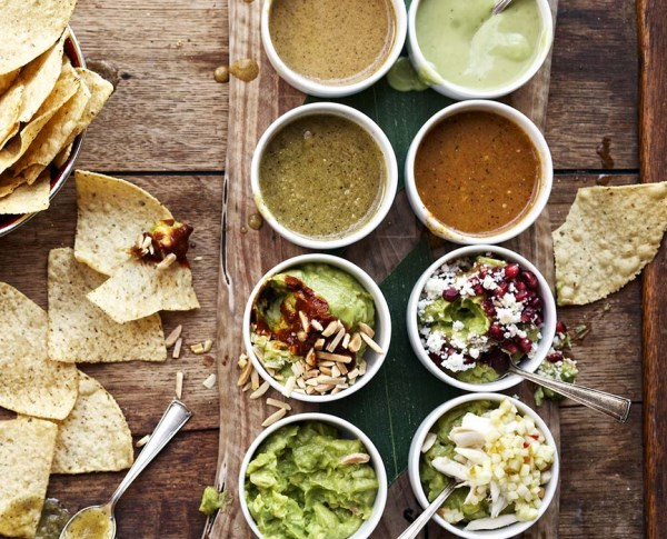 Salsa and guacamole selections