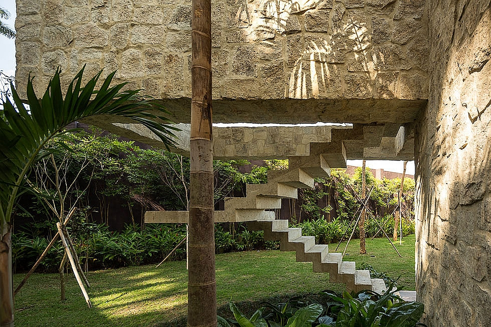 Sculptural staircase adds to the overall appeal of the exterior