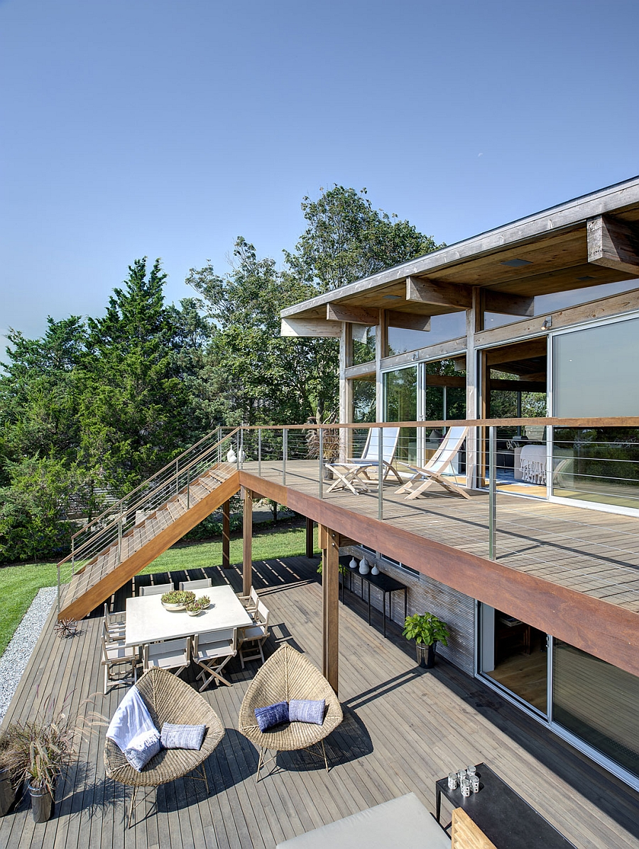 Second level deck of the New York home with a view of the wetlands