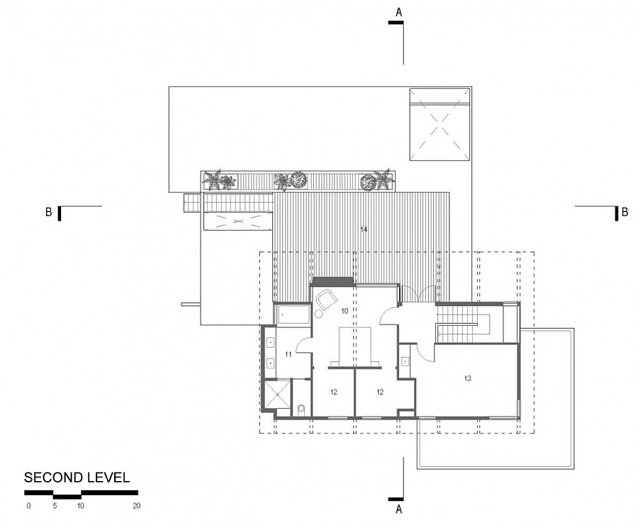 Second level floor plan of the elegant Texas home