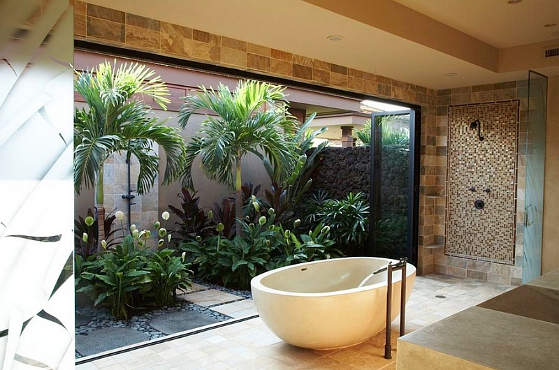 Serene Zen bathroom that opens up into the backyard with a freestanding tub