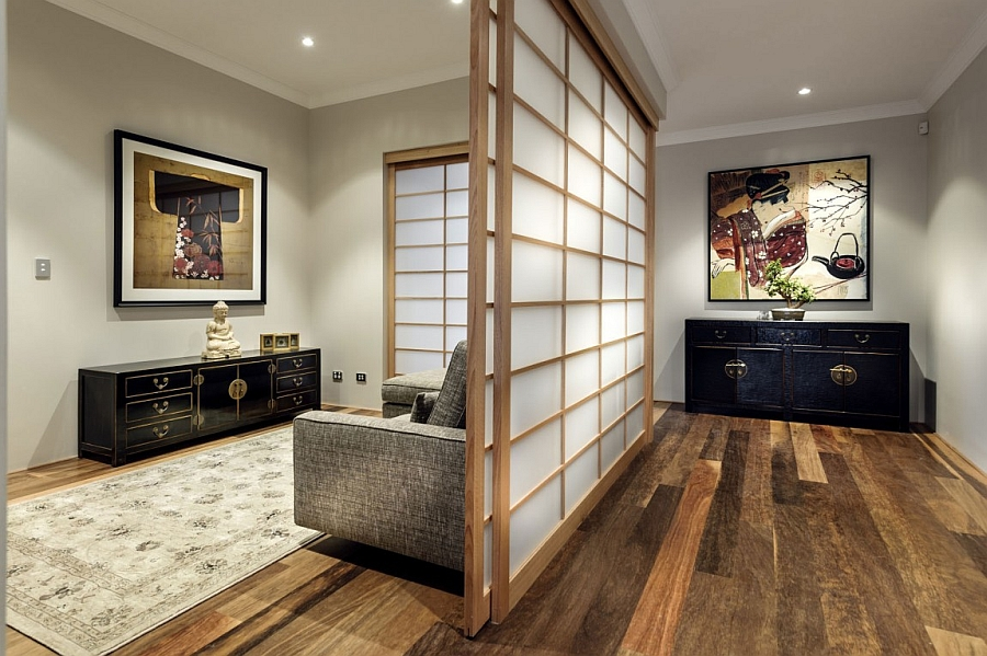 Shoji screens and Japanese wall art give the serene interiors an oriental touch