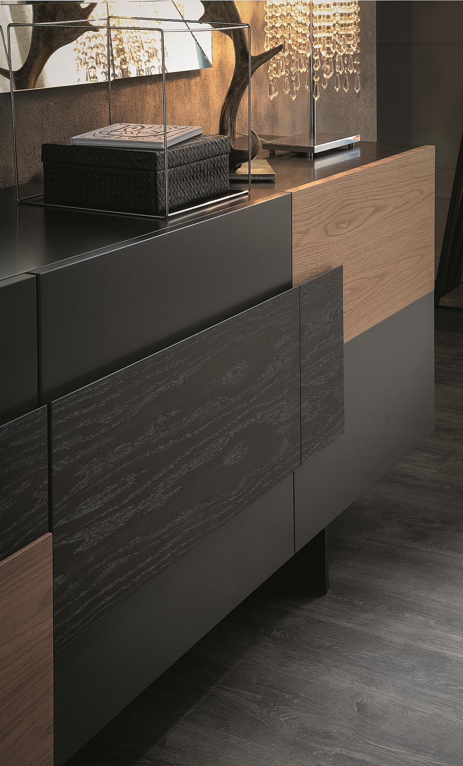 Sideboard in natural oak adds inviting warmth to the room