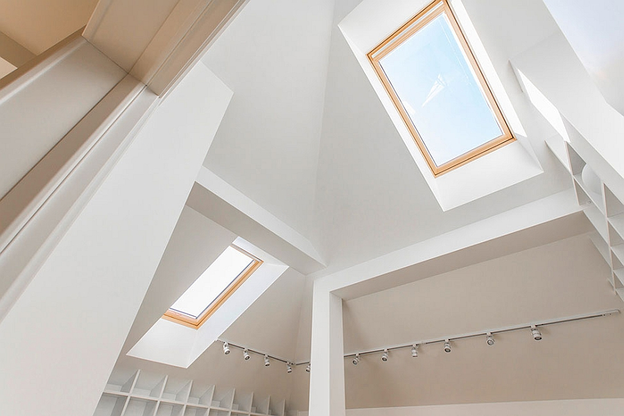 Skylights bring in ample natural light into the loft apartment