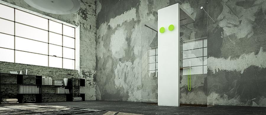 Sleek and stylish design of the Monolite Light shower and radiator